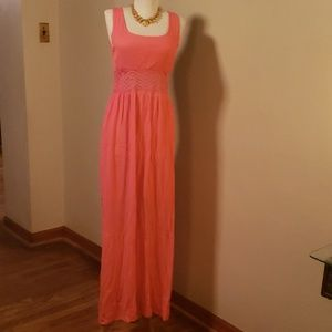 Xhiliration coral maxi summer dress  size M